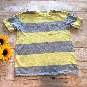 Gap Kids boys yellow/grey stripe shirt. Size 8
